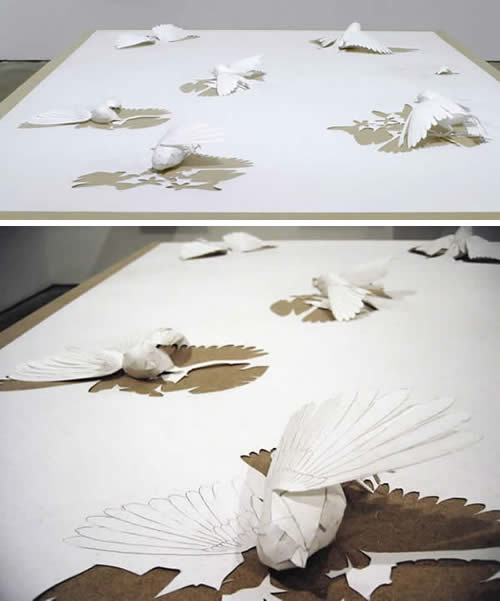 Birds trying to escape their drawing